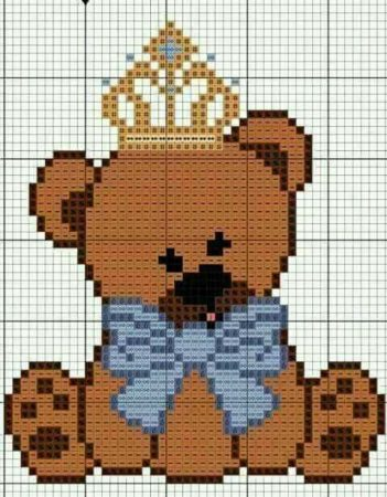 Urso Ursinho Príncipe Princesa Rei Rainha BordadoPontoCruz 12