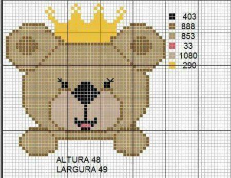 Urso Ursinho Príncipe Princesa Rei Rainha BordadoPontoCruz 15