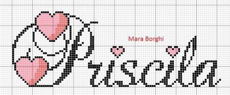 nome Priscila Priscilla BordadoPontoCruz com 08