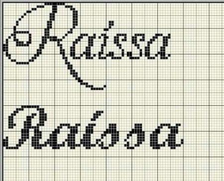 nome Raissa Rayssa BordadoPontoCruz com 01