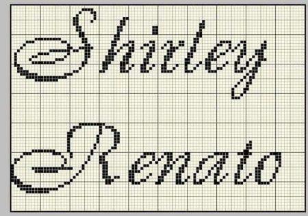nome Shirley e Renato BordadoPontoCruz com 02