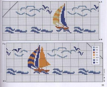 Barrado Barcos Barquinhos BordadoPontoCruz 02
