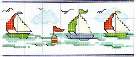 Barrado Barcos Barquinhos BordadoPontoCruz 05