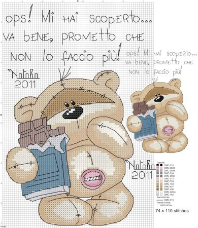 Urso Ursinho Fuzzy Moon BordadoPontoCruz 38