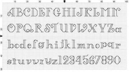 Monograma Alfabeto Pequenos BordadoPontoCruz com 56