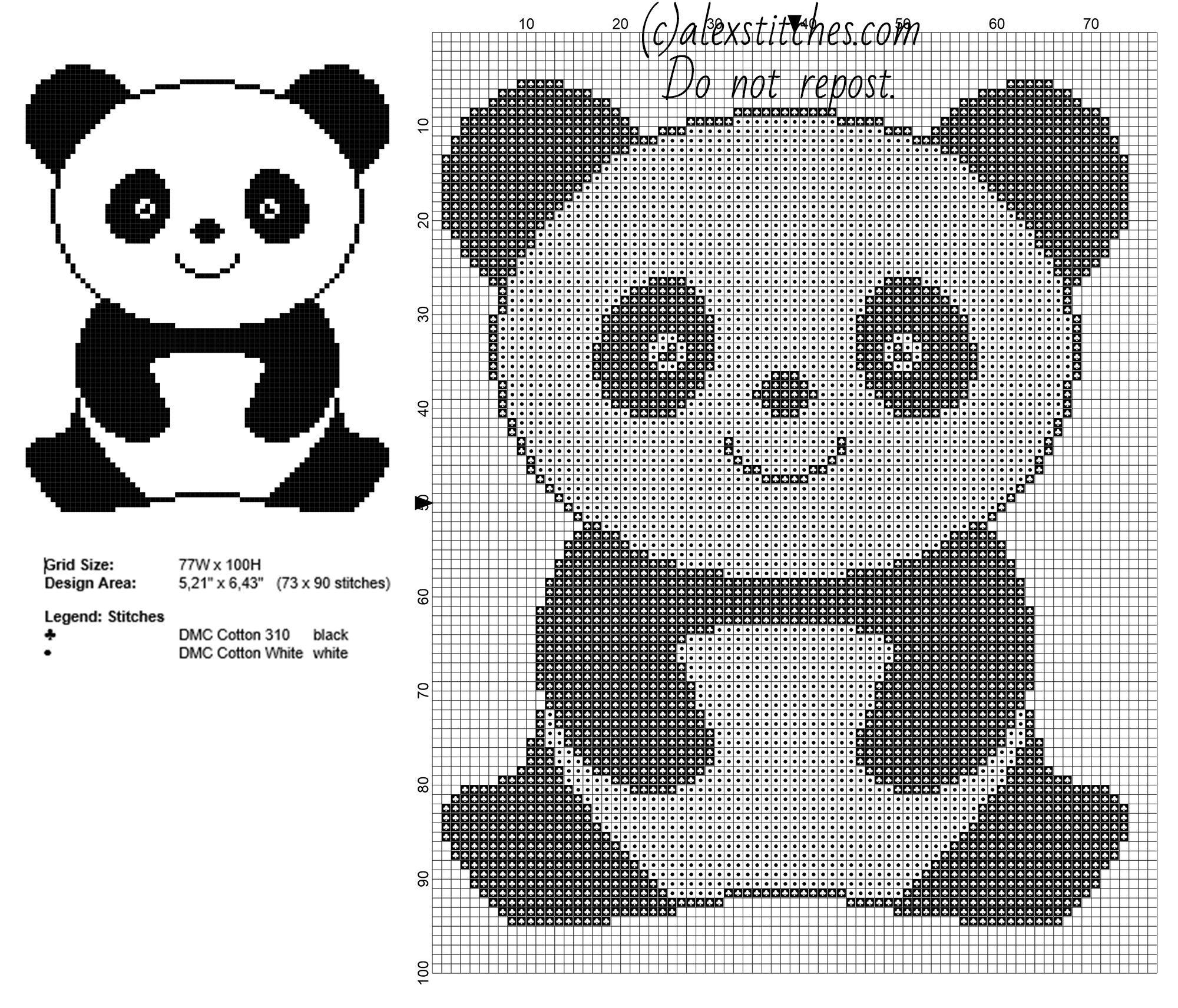 Urso Ursinho Panda BordadoPontoCruz 007