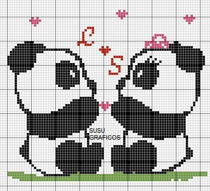 Urso Ursinho Panda BordadoPontoCruz 016