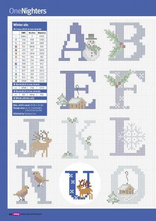 Alfabeto Natal Neve Azul BordadoPontoCruz 02