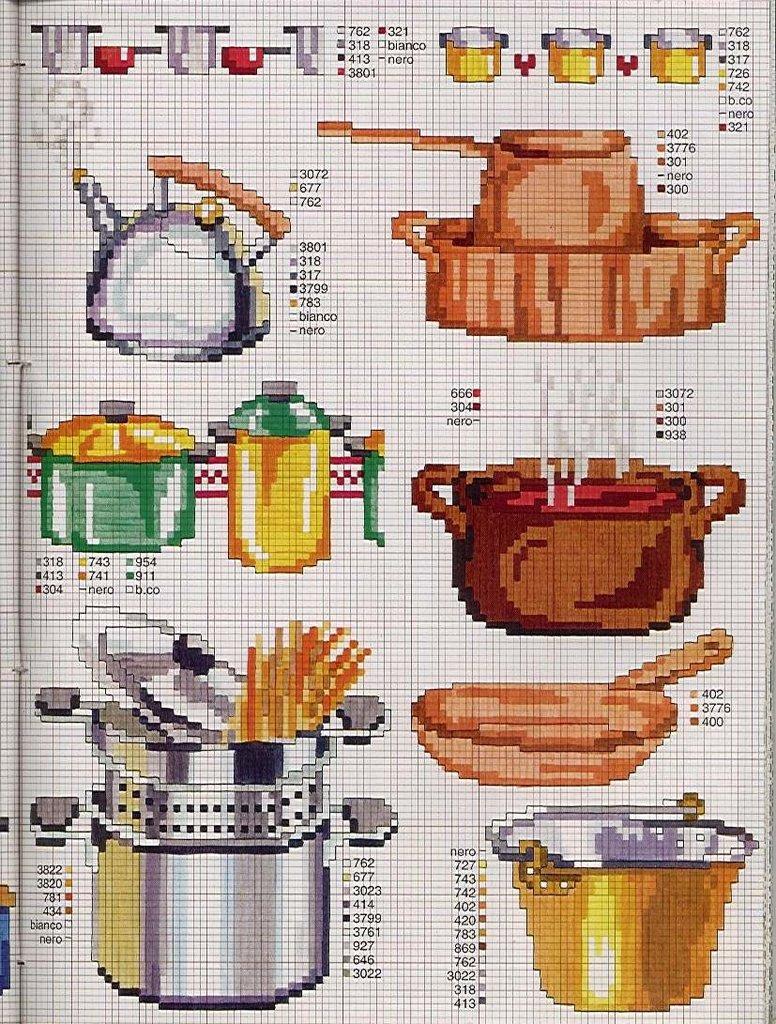Cozinha Bules panelas e utensilios de cozinha BordadoPontoCruz com 11