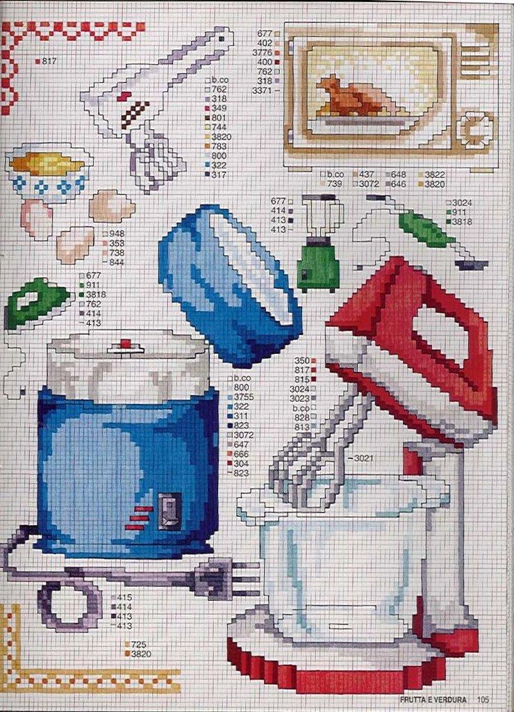 Cozinha Bules panelas e utensilios de cozinha BordadoPontoCruz com 12