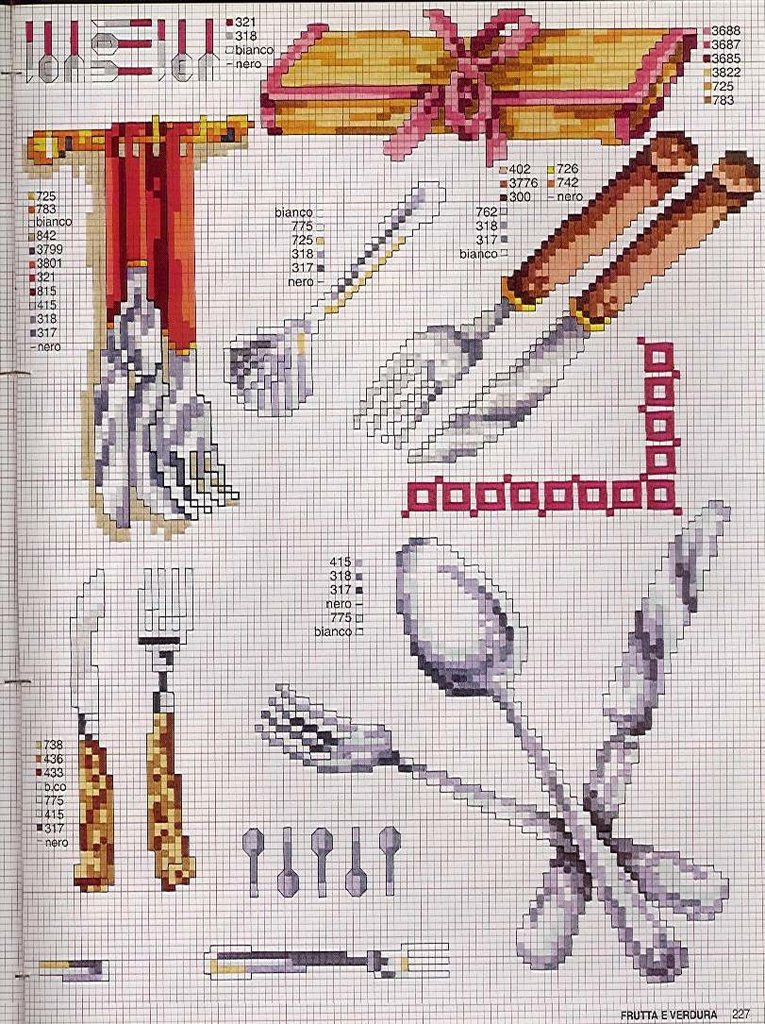 Cozinha Bules panelas e utensilios de cozinha BordadoPontoCruz com 13