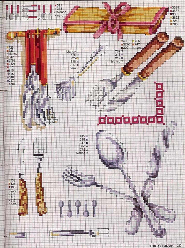 Cozinha Bules panelas e utensilios de cozinha BordadoPontoCruz com 15