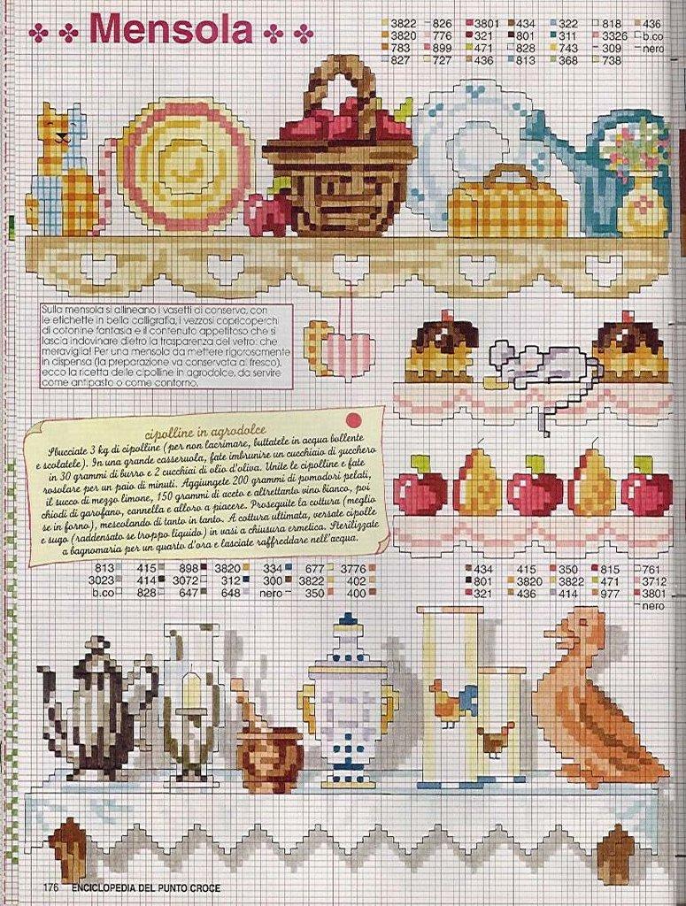 Cozinha Bules panelas e utensilios de cozinha BordadoPontoCruz com 17