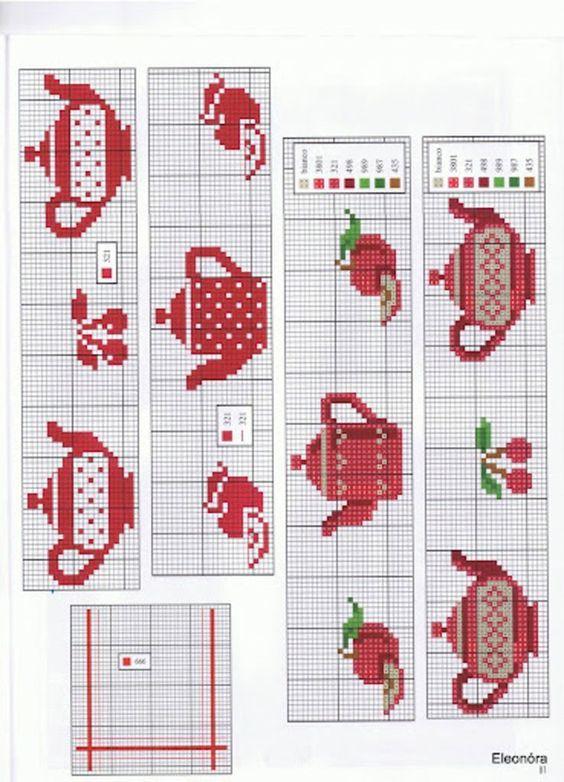 Cozinha Bules panelas e utensilios de cozinha BordadoPontoCruz com 18