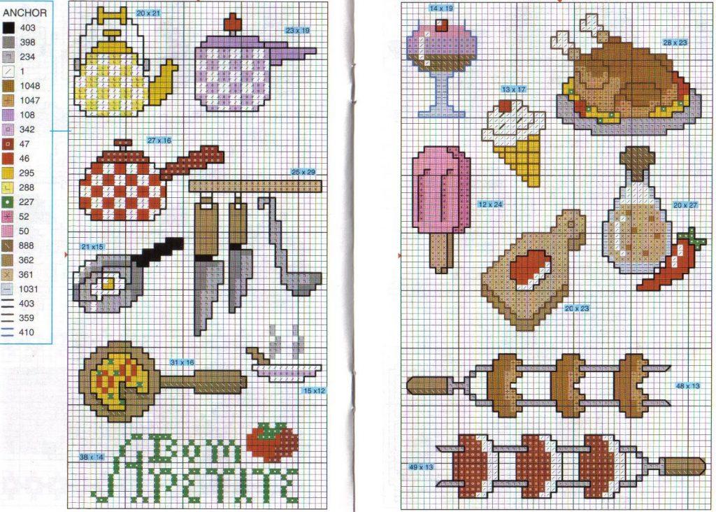 Cozinha Bules panelas e utensilios de cozinha BordadoPontoCruz com 23
