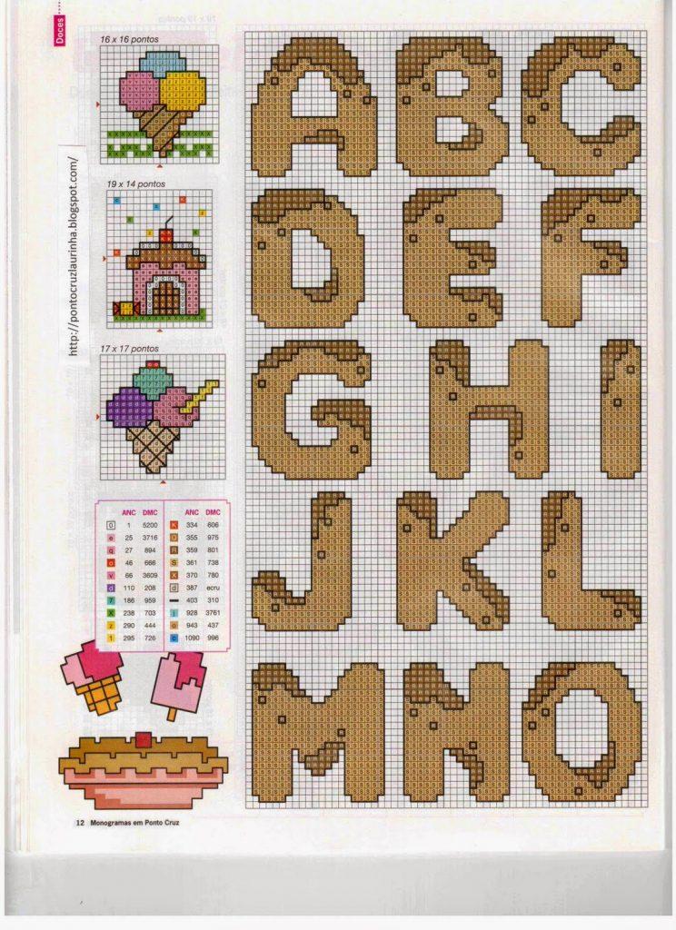 Monograma Alfabeto Doces BordadoPontoCruz 06a
